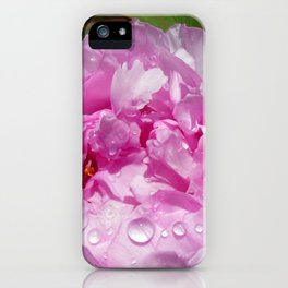 Pink Peony with Rain Drops iPhone Case
