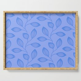 Climbing Leaves In Cerulean Blue Serving Tray