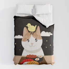 Sushi Eating Cat & Bird Comforters