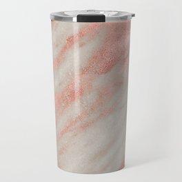 Marble Rose Gold White Marble Foil Shimmer Travel Mug