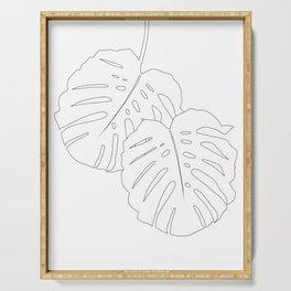 Monstera Leaves Finesse Line Art #1 #minimal #decor #art #society6 Serving Tray