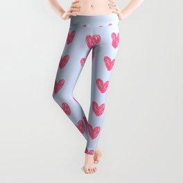 Pink hearts on blue Leggings