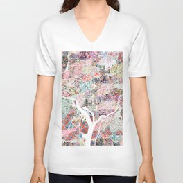 Washington map flowers Unisex V-Neck