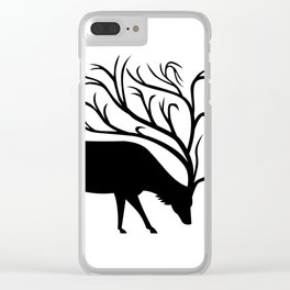 Deer With Tree Antlers Mascot Clear iPhone Case