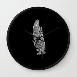 Light white feather Wall Clock