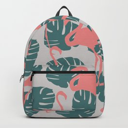 Flamingos and Monstera Pattern R Backpack