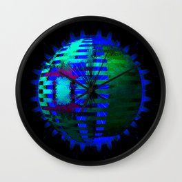 Green Layered Star in Blue Flames Wall Clock