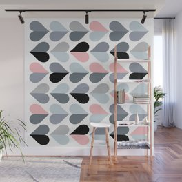 Love and Kisses in Pink and Grey Wall Mural