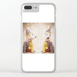 Circus Clown Dogs Clear iPhone Case