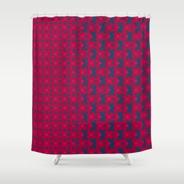 kari - candy apple red and royal blue abstract pattern Shower Curtain
