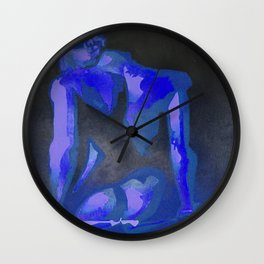 Beautiful Young Woman Wearing Plaits and Panties (Blue) Wall Clock