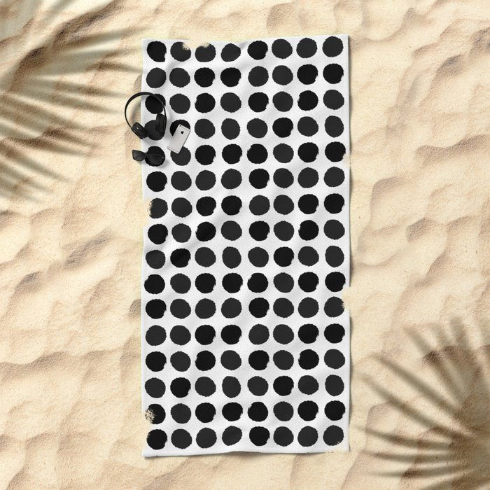 Black and white minimal paint brush painterly dots polka dots minimal modern dorm college painting Beach Towel