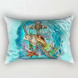 Turtle and Sea Rectangular Pillow