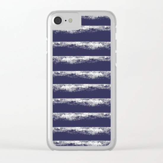 Irregular Stripes Dark Blue Clear iPhone Case