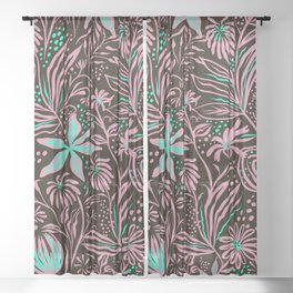 Abstract Floral Teal and Peach Sheer Curtain
