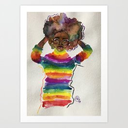 Portrait of a Feminist 3 in Watercolor and Ink and Mixed Media by Imaginarium Arts Art Print