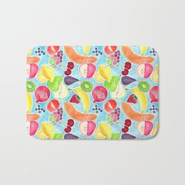 Fruit Salad in Watercolors on Bright Blue Background Bath Mat