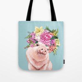 Flower Crown Baby Pig in Blue Tote Bag