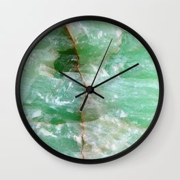 Crystalized Pale Green Quartz Slab with Copper Vein Wall Clock
