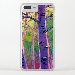 Poplars in winter at the sunset Clear iPhone Case