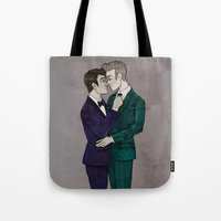 klaine Tote Bags featuring Suits by Sweet Peach Tea