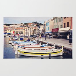 Boats in Cassis Harbor Rug