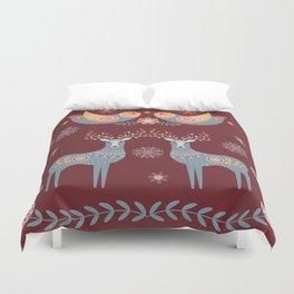 Nordic Winter Red Duvet Cover