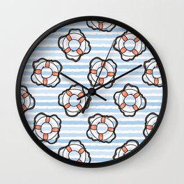Cute white and red lifering in the ocean cartoon seamless pattern. Wall Clock