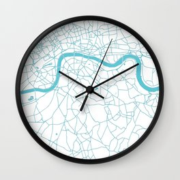 London White on Turquoise Street Map Wall Clock