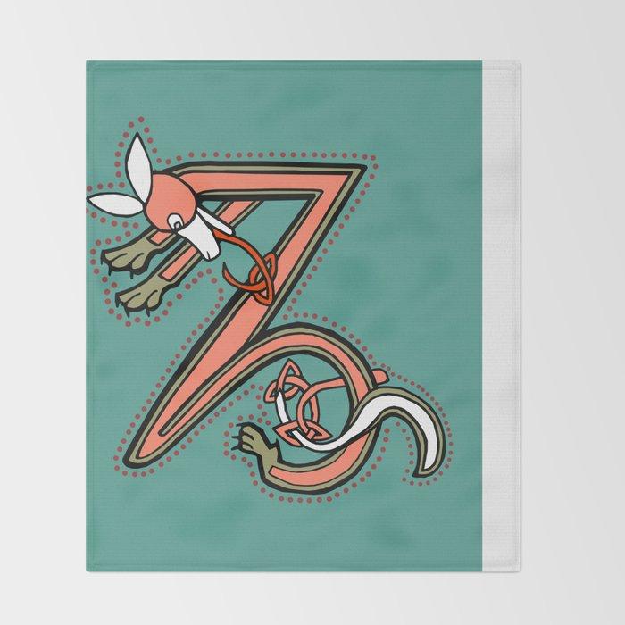 Celtic Fox Letter Z Throw Blanket