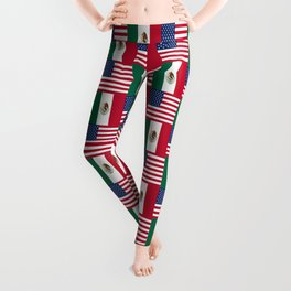 Mix of flag: mexico and usa Leggings