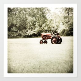 Vintage Red Tractor Art Print