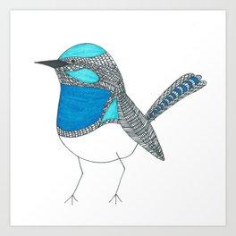 Illustrated Blue Wren with Line Art Art Print