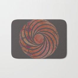 Caravans II:  Asian Print  Plum, gold, pink grey origami textile geometric design Bath Mat
