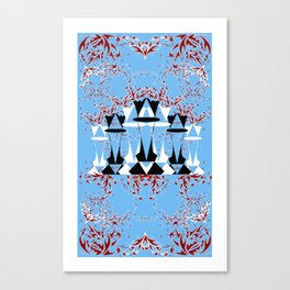 Black and White Queens in Bloom (Sky Blue) Canvas Print