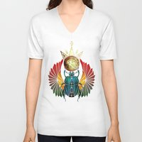 egyptian V-neck T-shirts featuring egyptian beetle by Manoou