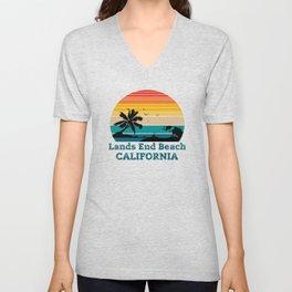 Lands End Beach CALIFORNIA Unisex V-Neck