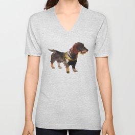 watercolor dog vol 10 dachshund Unisex V-Neck