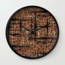 Textured Tweed - Orange Black Wall Clock