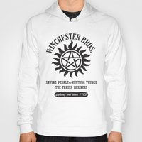 sam winchester Hoodies featuring SUPERNATURAL WINCHESTER BROTHERS DEAN AND SAM by thischarmingfan