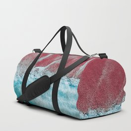 SPLASH III - Electric Pink Sand and Turquoise Waves Art Print Duffle Bag