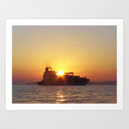 Container Ship At Sunset Art Print