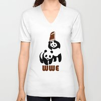wwe V-neck T-shirts featuring Panda Wwe by Maxvtis