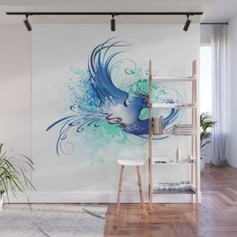 Watercolor Blue Bird Wall Mural