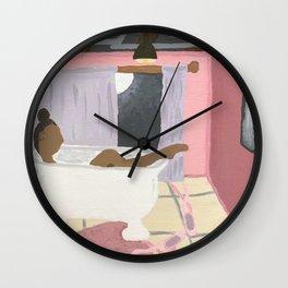 Soaking in a Clawfoot tub Wall Clock