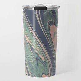 Abstract mauve blue pink turquoise marble Travel Mug