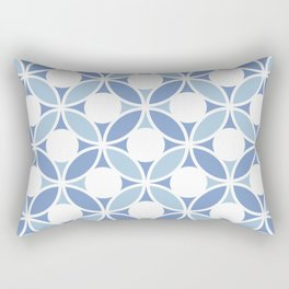 Geometric Orbital Spot Circles In Pastel Blues & White Rectangular Pillow