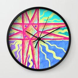 Summer Sun Abstract Digital Painting Wall Clock