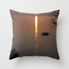 Lonely Michigan Sunset Throw Pillow