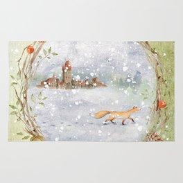 Christmas vintage fox Rug